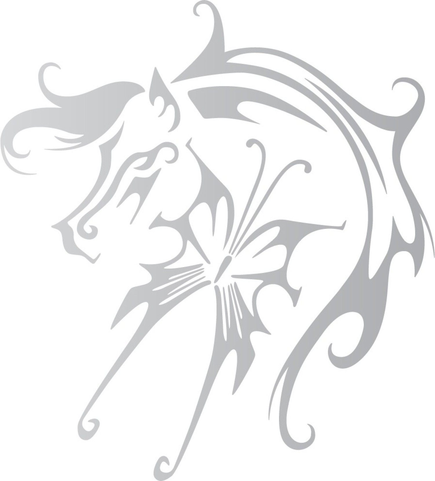 Wall design bike graphics stickers fly like a horse silver colour reflective vinyl motorcycle design sticker pack of 1