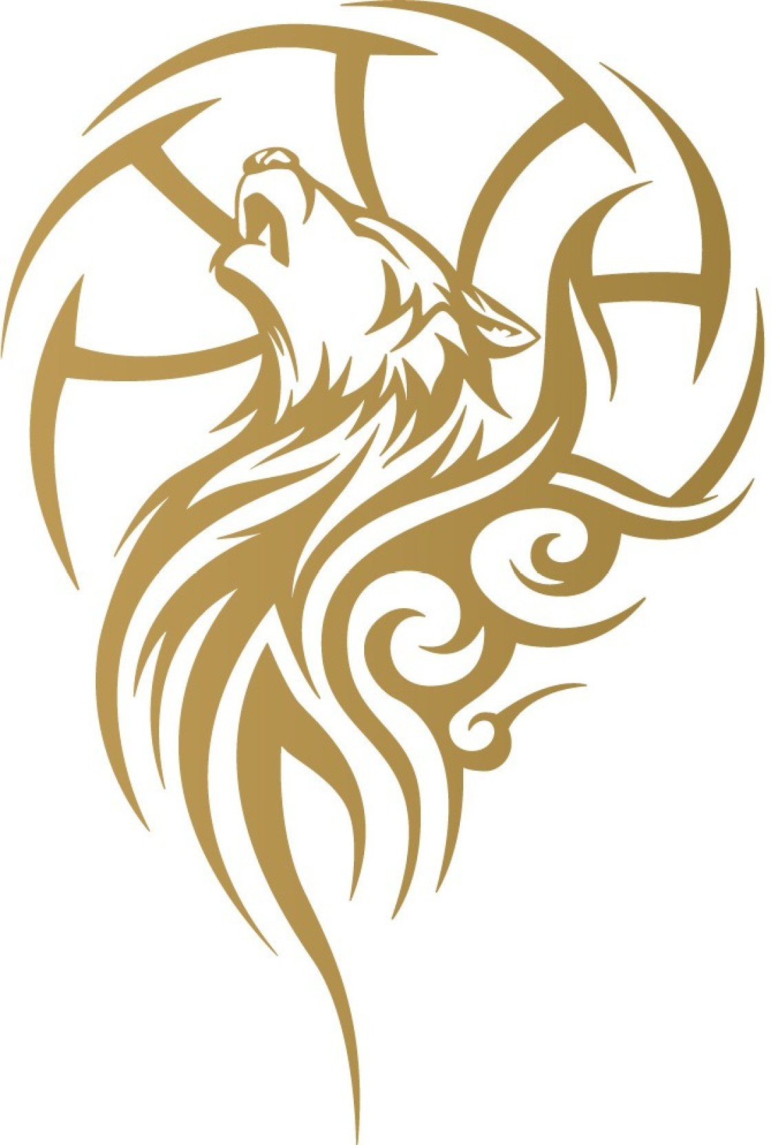 Wall design sports stickers for bikes wolf tattoo gold colour reflective vinyl motorcycle design sticker pack of 1