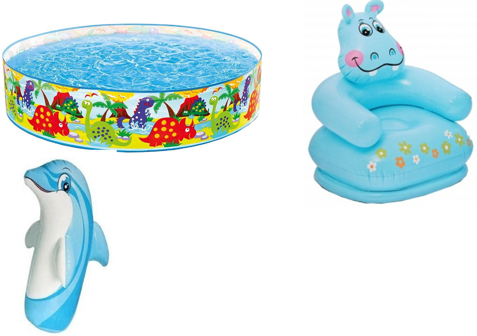 DINAARKAN COMBO OF 4 FEET BATH TUB AND 2.5 FEET INFLATABLE HIPPO ...