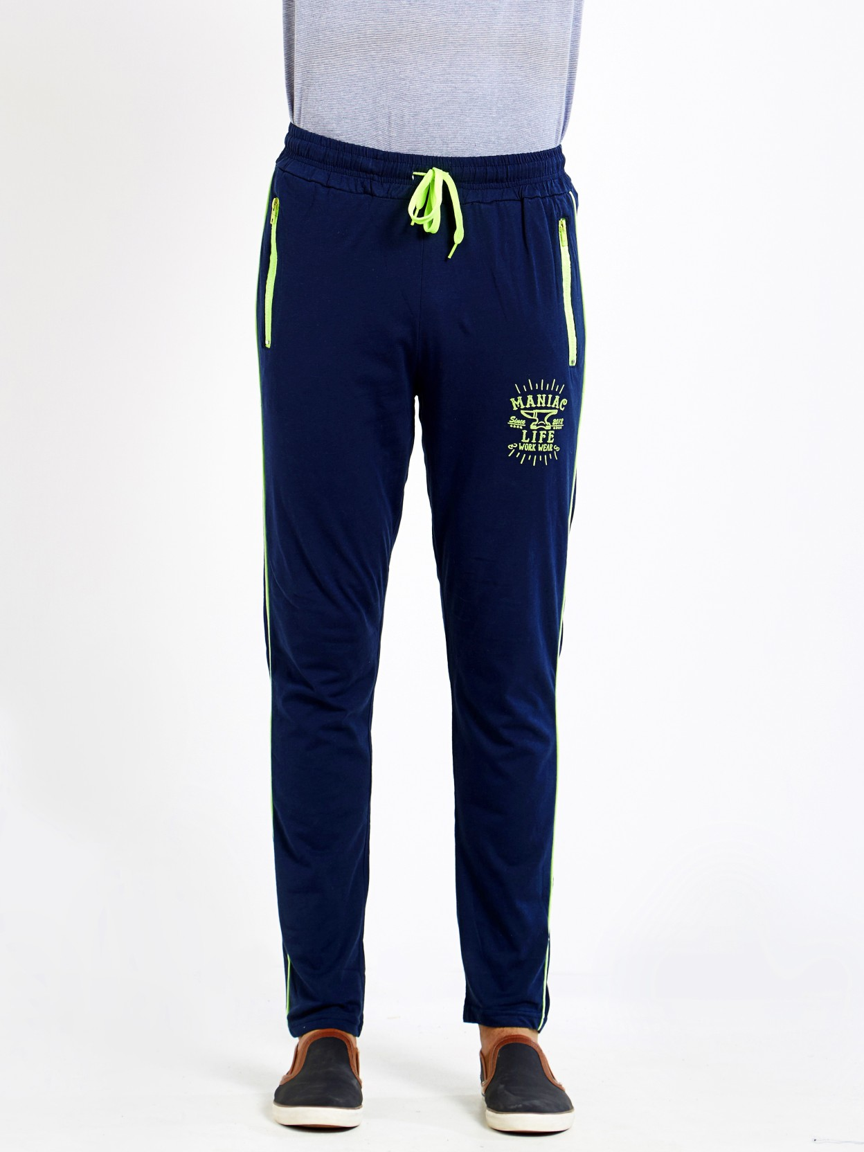 Maniac Solid Men's Dark Blue Track Pants