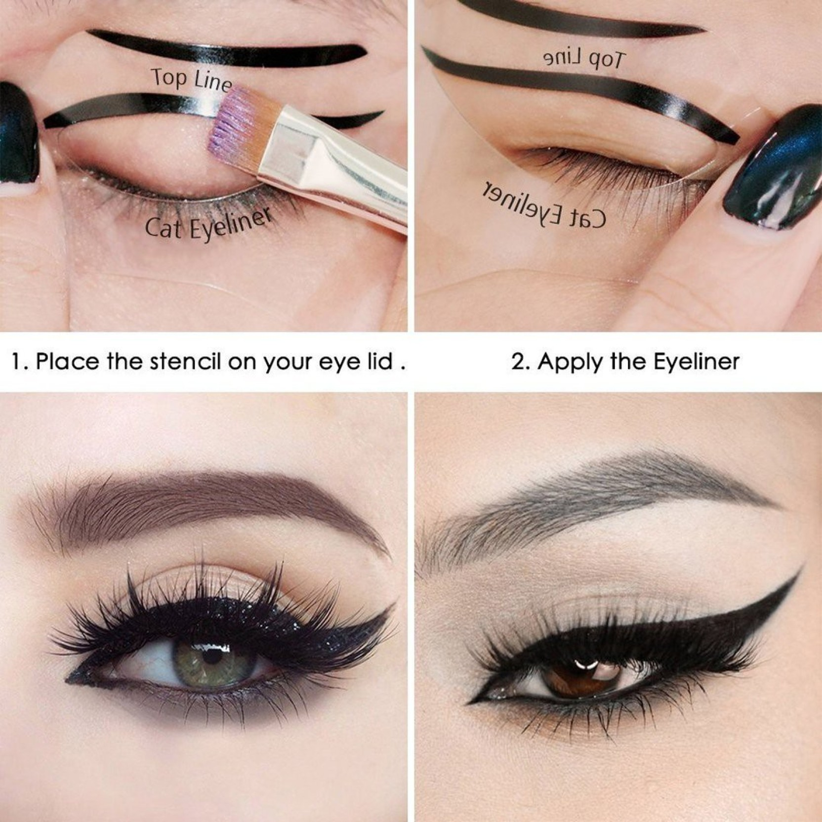 Elv Cat Smokey Eye Makeup Eyeliner Stencils Repeatable Use Card Eyebrow Template Add To Cart