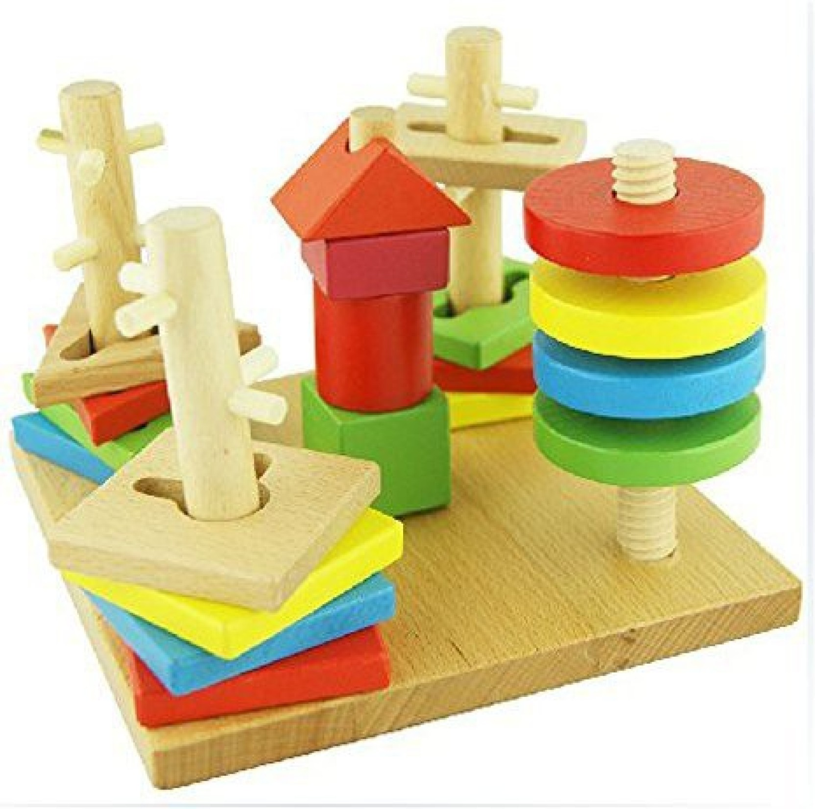 starmall wooden geometric shape sorting board building
