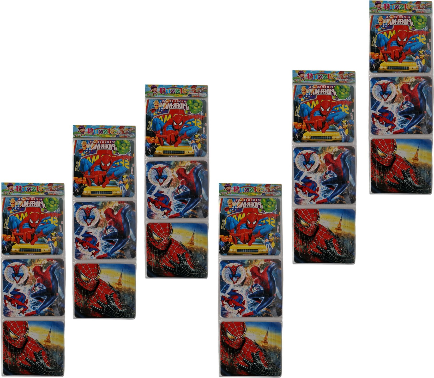 Aarvi Set Of 3 Pieces Spiderman Character Puzzle Birthday Return Gift For Kids Pack 12 Sets