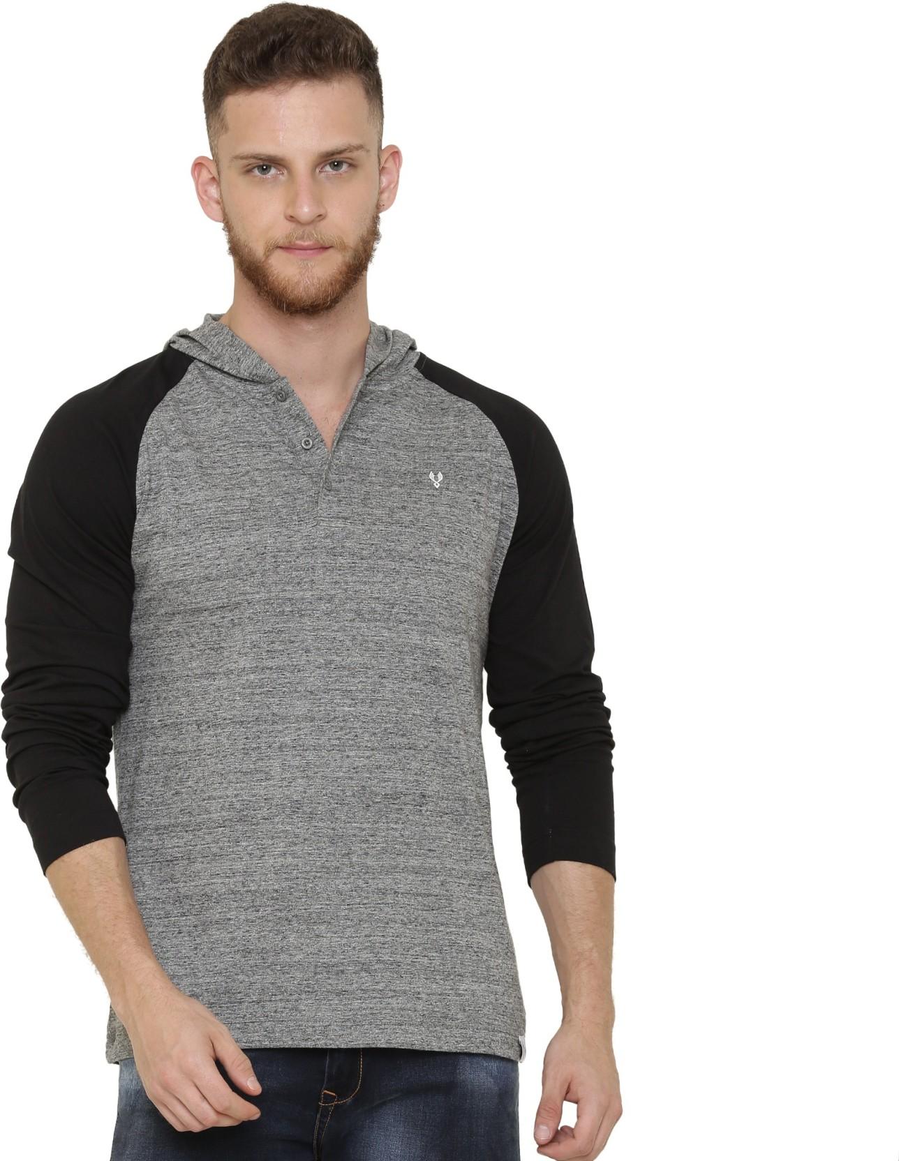VUDU Solid Men Henley Grey T-Shirt - Buy VUDU Solid Men