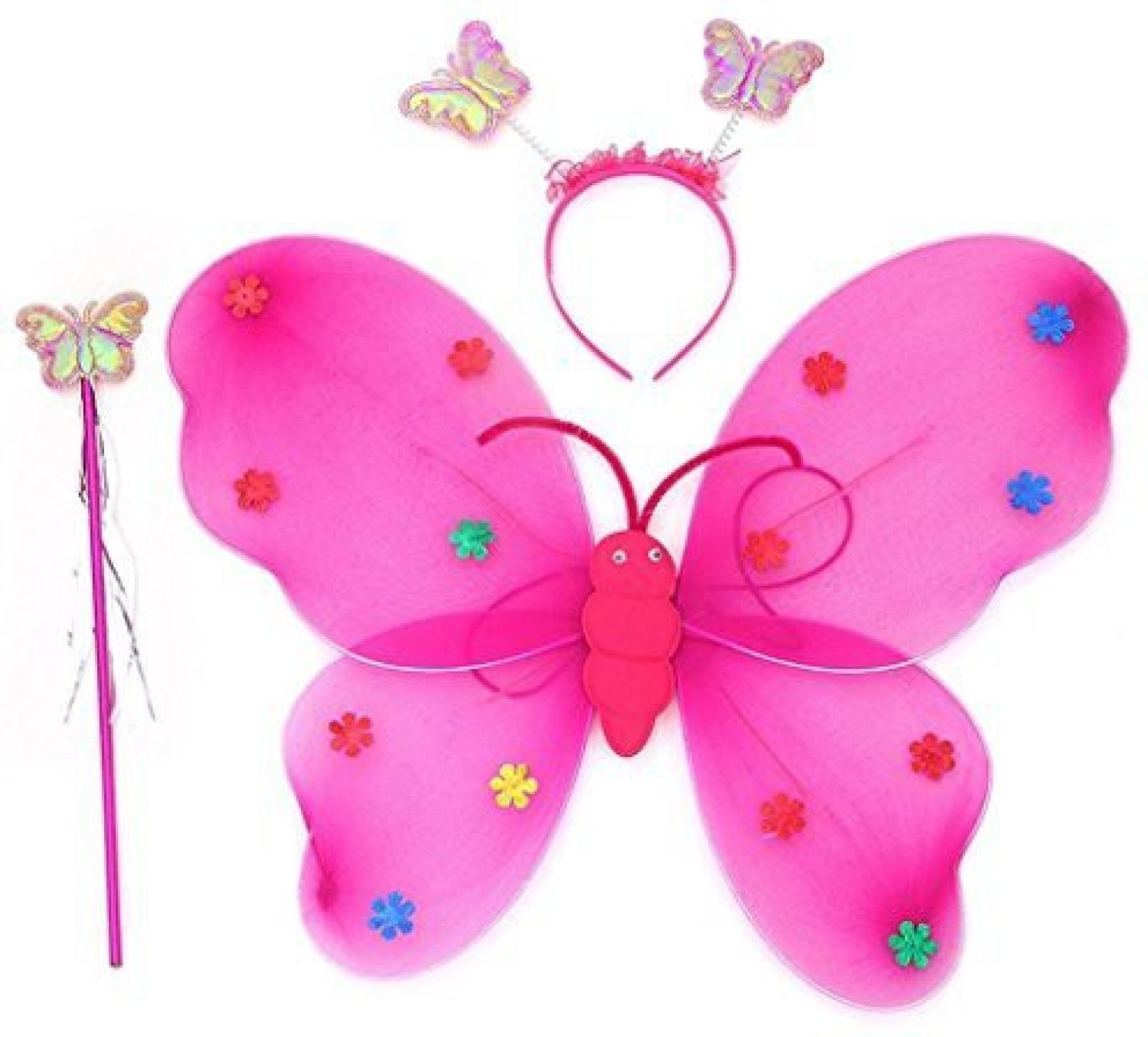 3-8Y SODIAL Girls 3 Pcs Set Fairy Princess Glitter Butterfly Party Costume Wings Wand Headband Blue