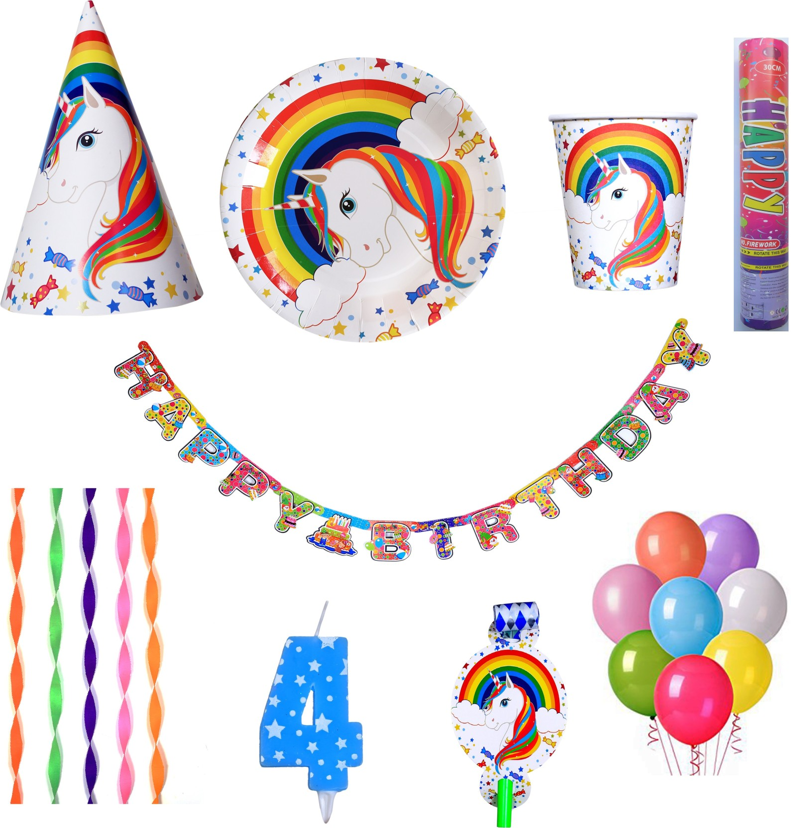 PEPUP Unicorn Theme Kids 4th Birthday Party Decoration Combo Pack For 12 Children
