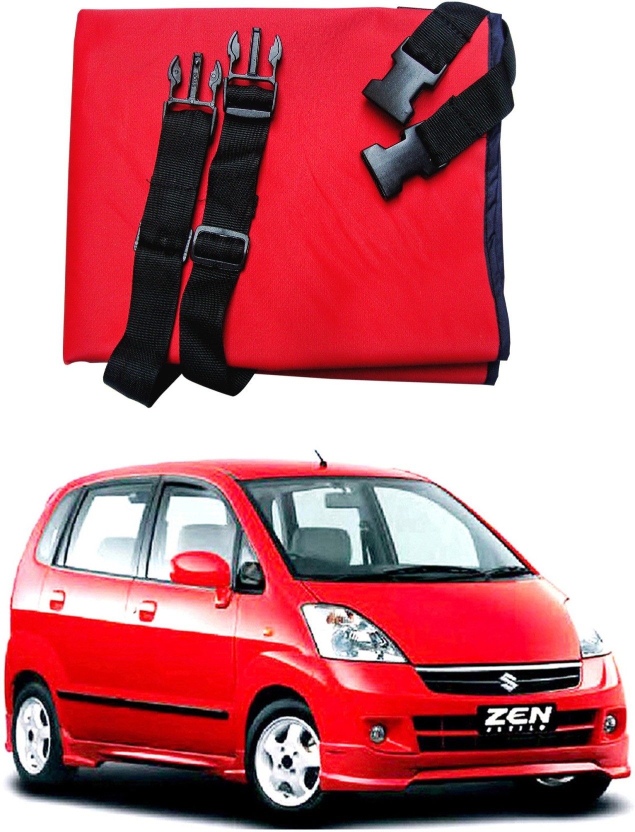 Auto pearl be3h177 premium make car rear maruti suzuki zen estilo type 1 hammock pet seat cover red black waterproof