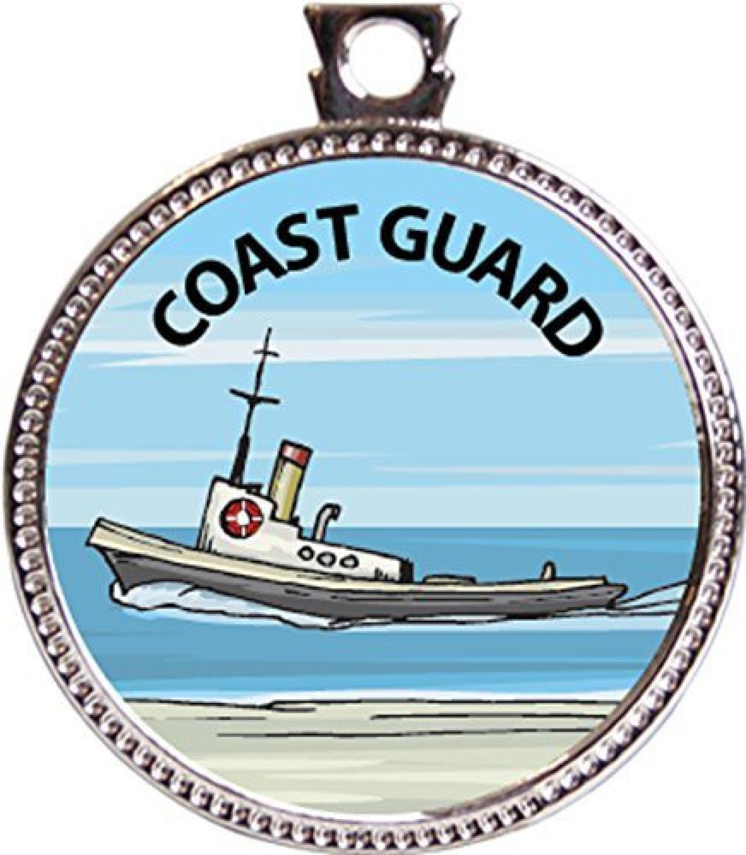 Keepsake Awards Coast Guard Award, 1 Inch Dia Silver Medal