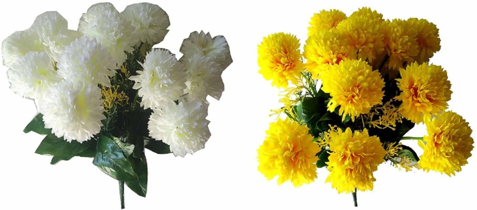 Kaykon 2 Carnation Flower Bunch White Yellow Carnations Artificial