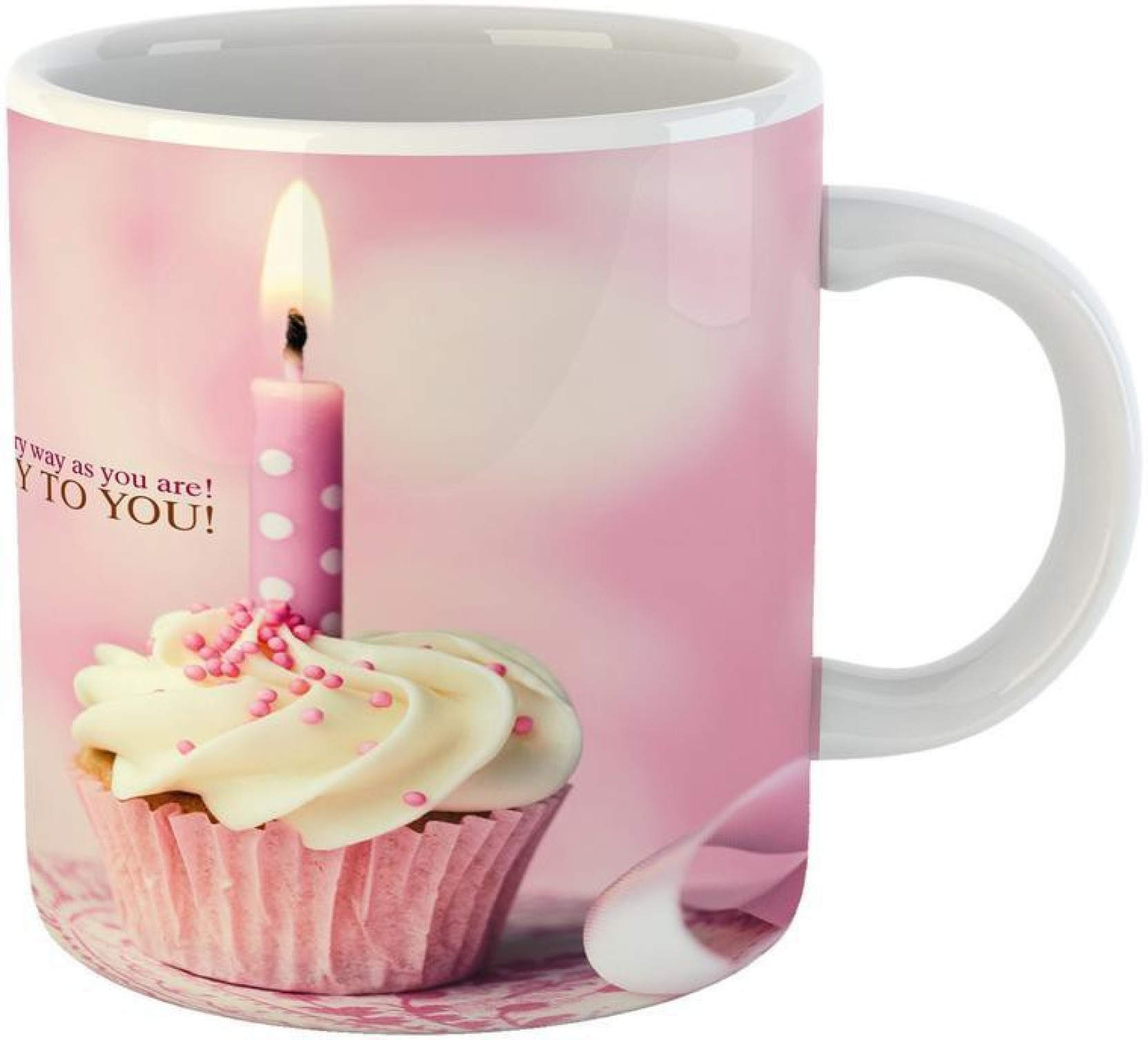 GiftOwl Happy Birthday Pink Cake Design Coffee For Of Friends Girlfriend Boyfriend Giftfamily With Glossy Finish Vibrant Print 350 Ml Capacity