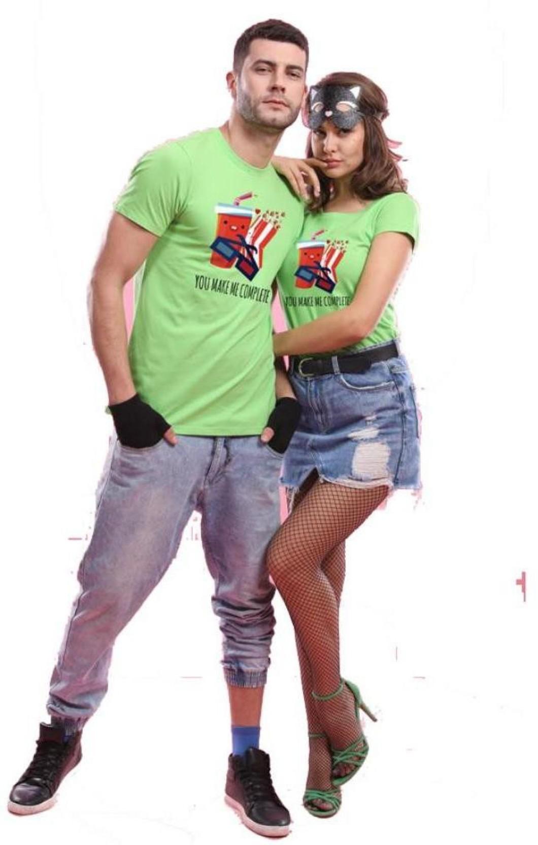 0c346fec6c BonOrganik Printed Men's & Women's Round Neck Green T-Shirt (Pack of 2)