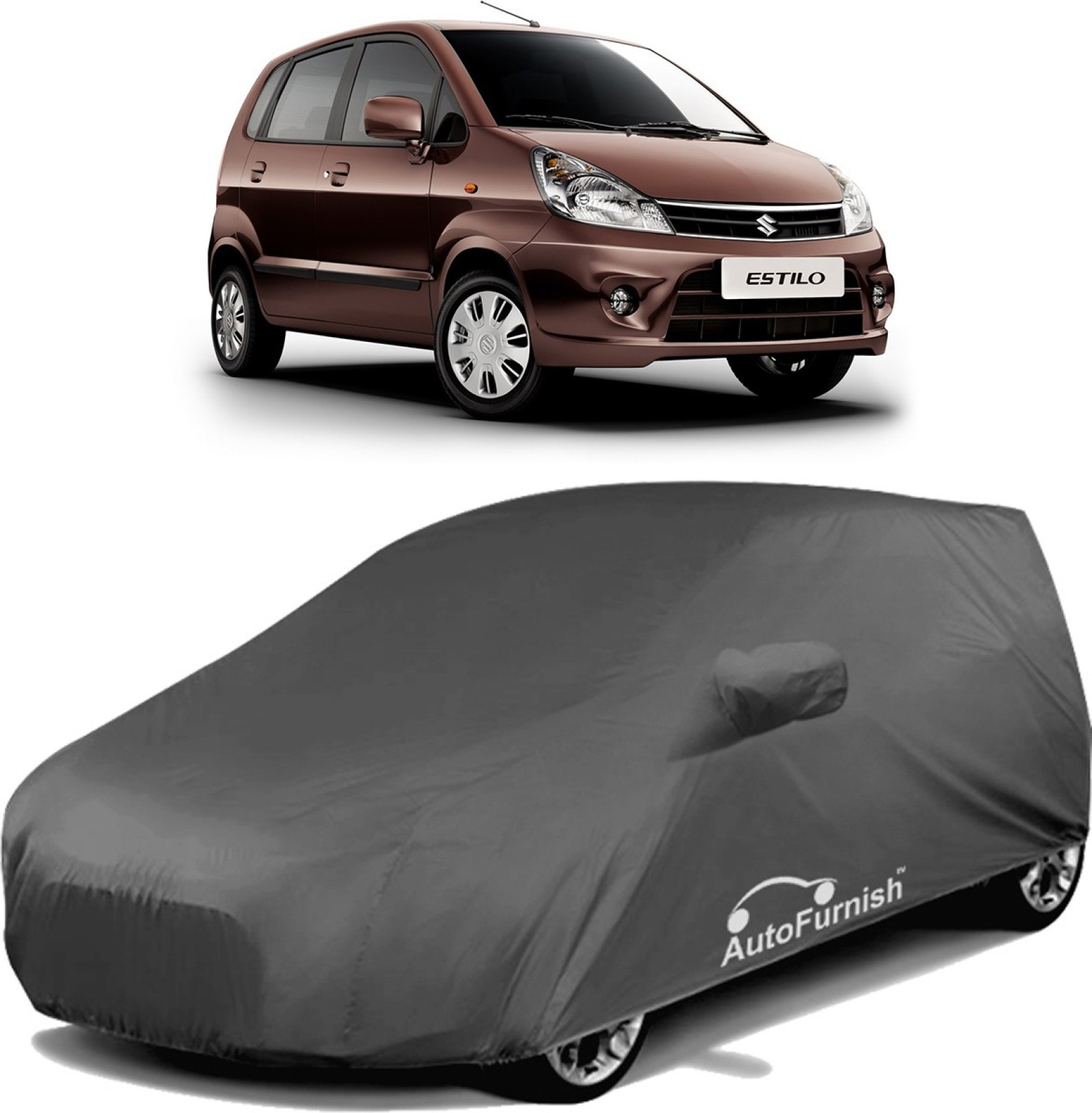Autofurnish car cover for maruti suzuki zen estilo with mirror pockets grey