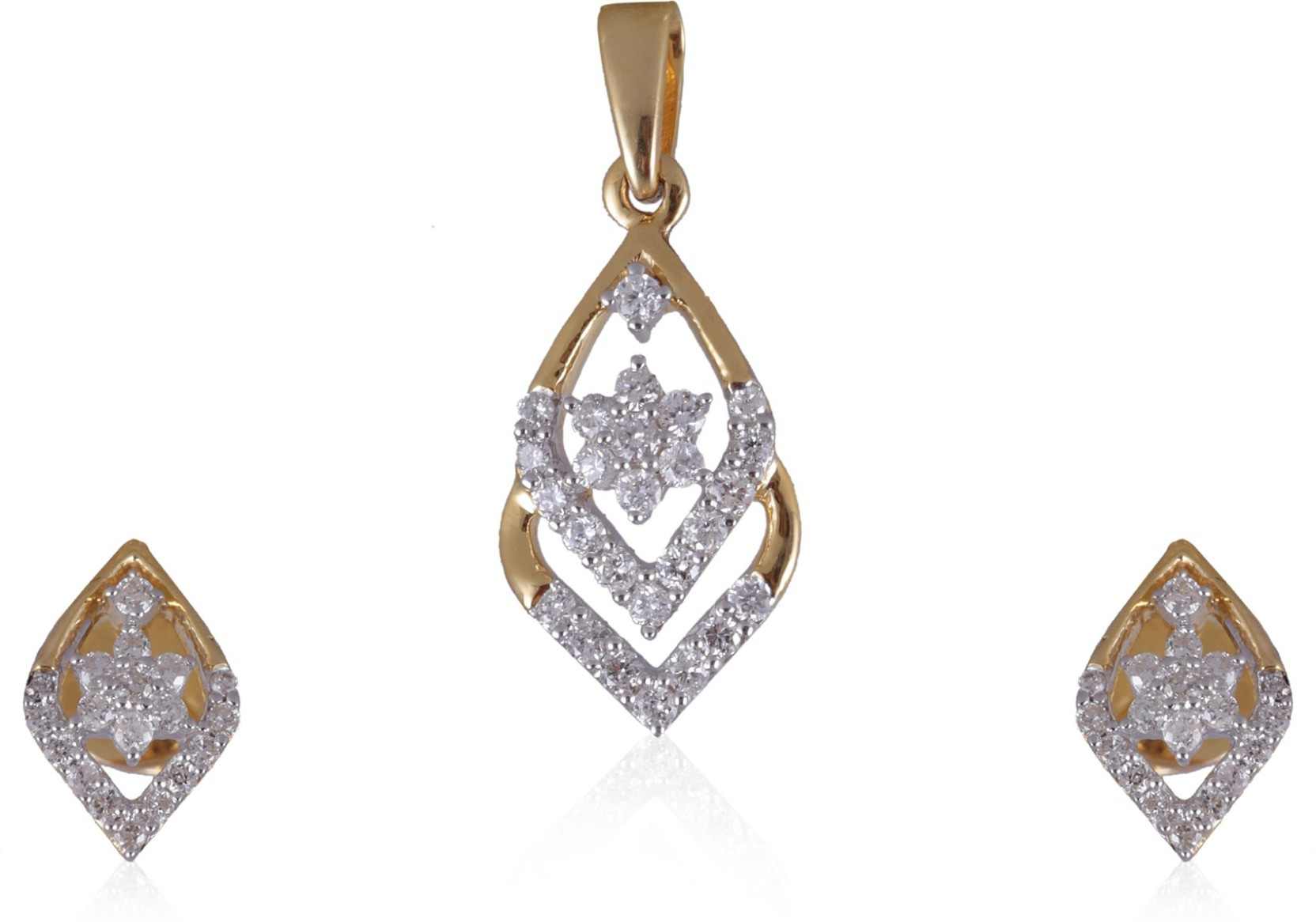 Jisha Yellow Gold 18kt Diamond Earring & Pendant Set Price in India