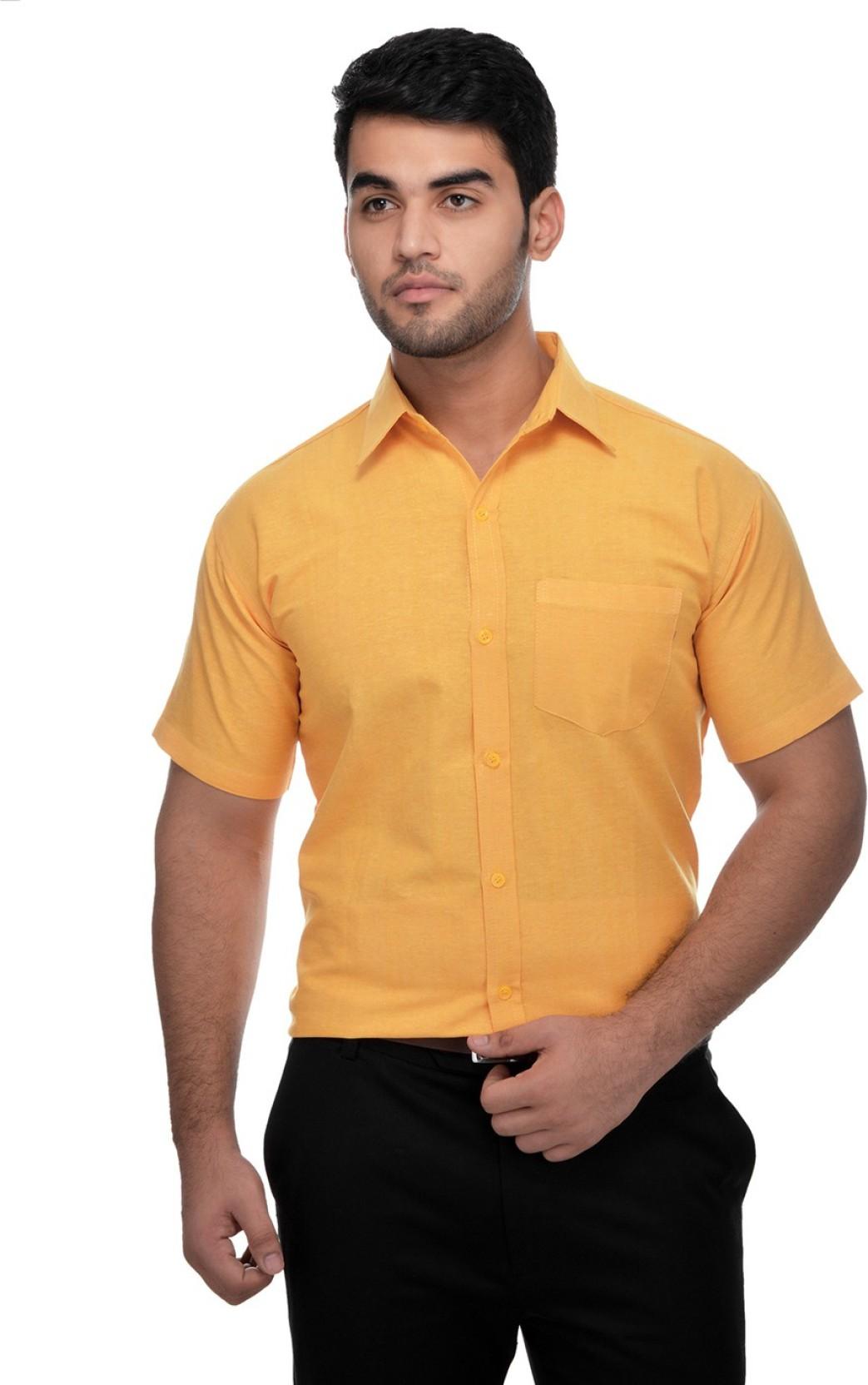 Desh Bandhu Khadi Mens Solid Formal Yellow Shirt Buy Desh Bandhu
