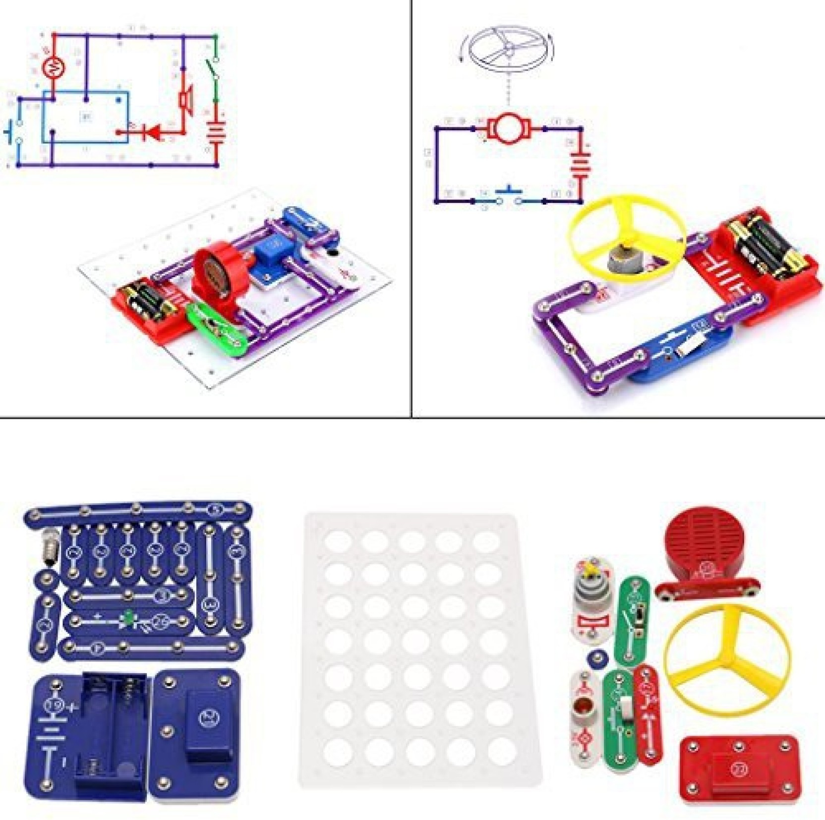Misright Snap Circuits Electronics Discovery Blocks Kit Science Diy Police Bicycle Siren Electronic Projects On Offer