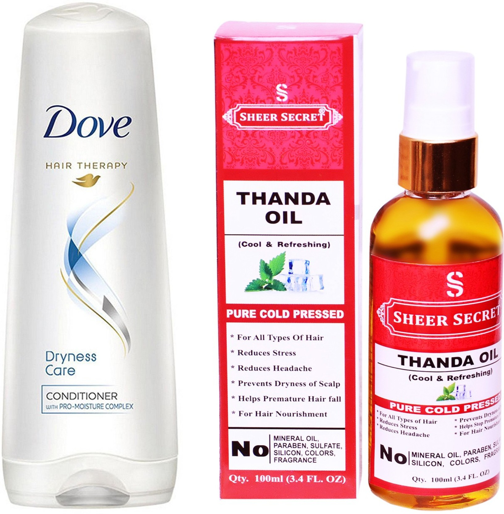 Dove 180 Ml Dryness Care Conditioner With Sheer Secret Cold Pressed Head Shoulder Shampoo Refreshing Menthol 180ml On Offer