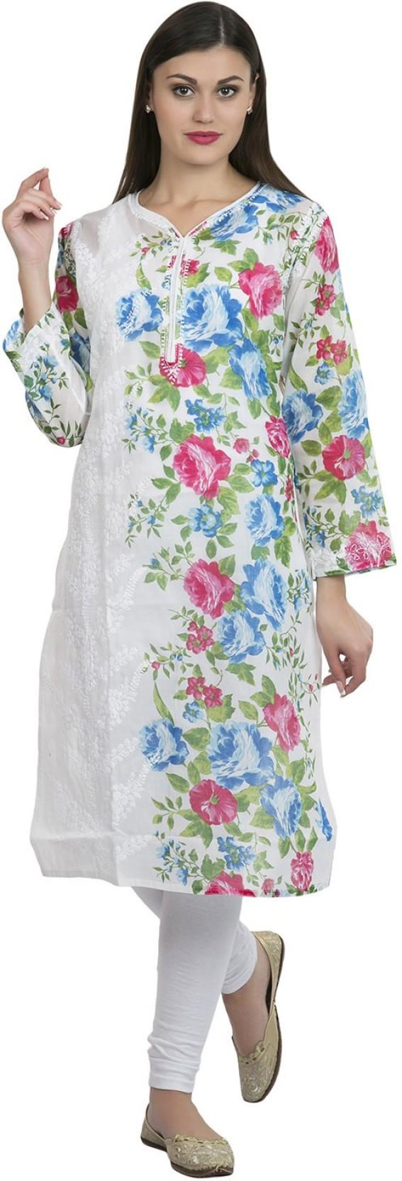 La Vastraa Womens Chikan Embroidery Straight Kurta White