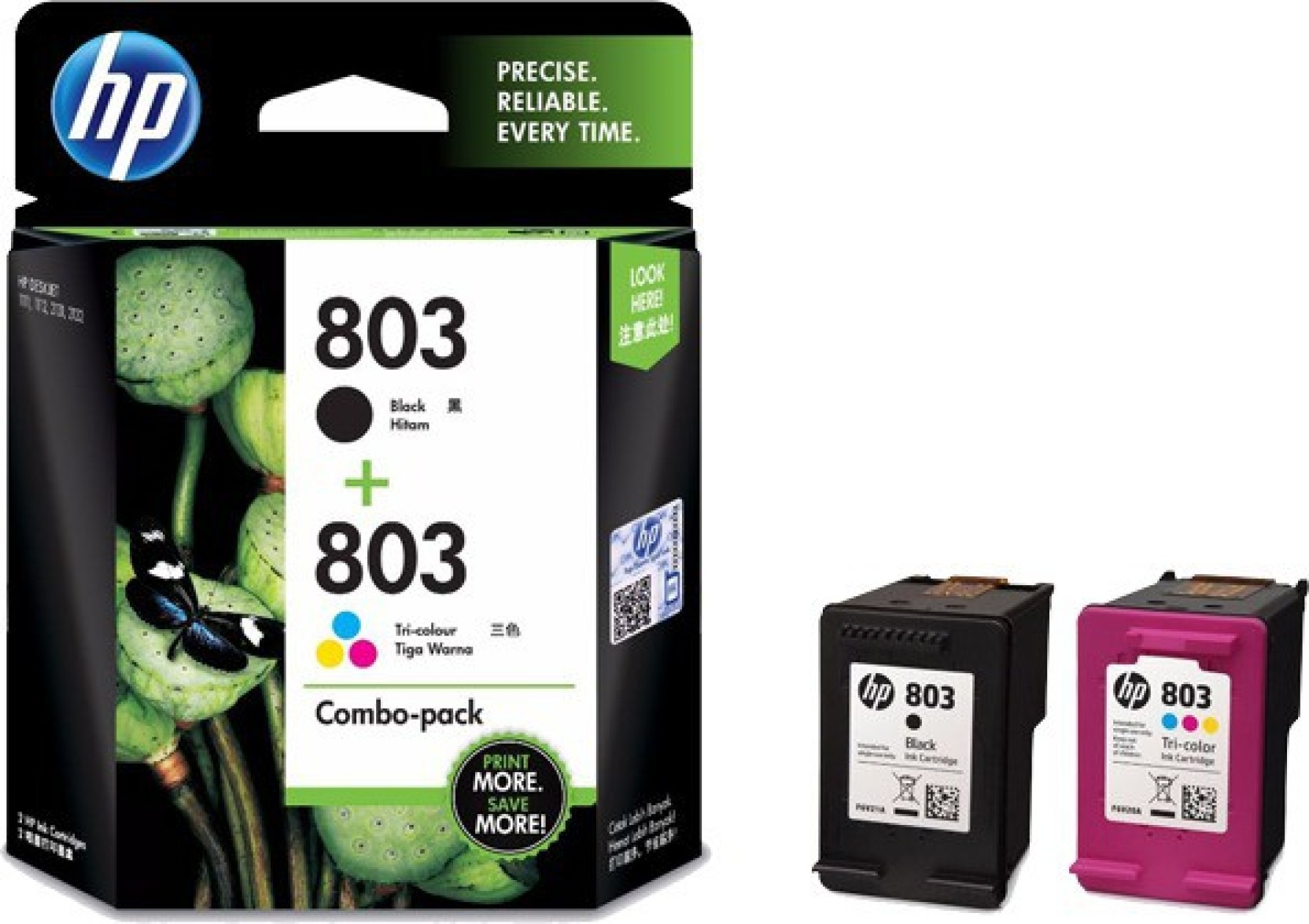 2 Pack Genuine HP 61XL Black Ink Cartridges No Box