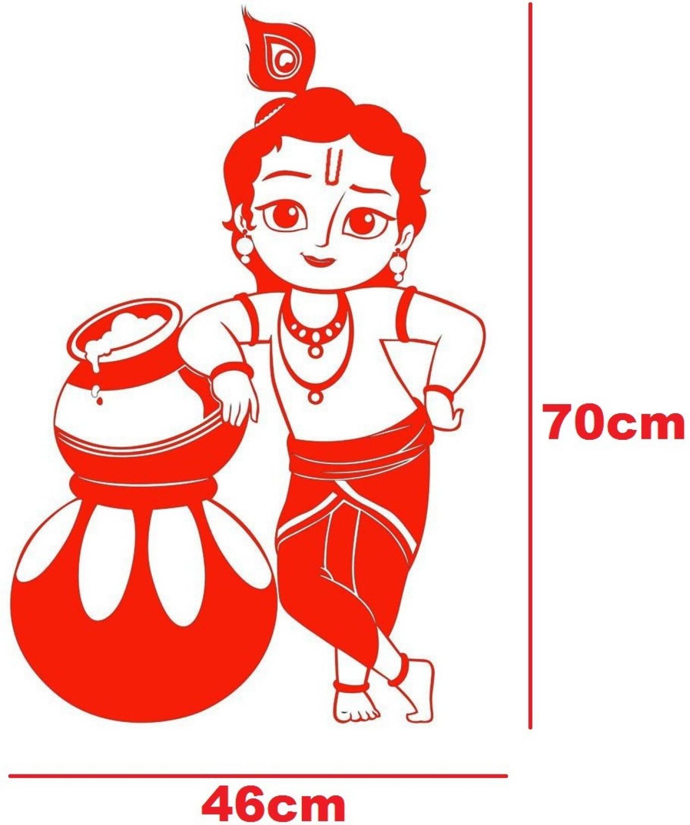 Marvellous large jai shree krishna wall decal god krishna sticker pack of 1