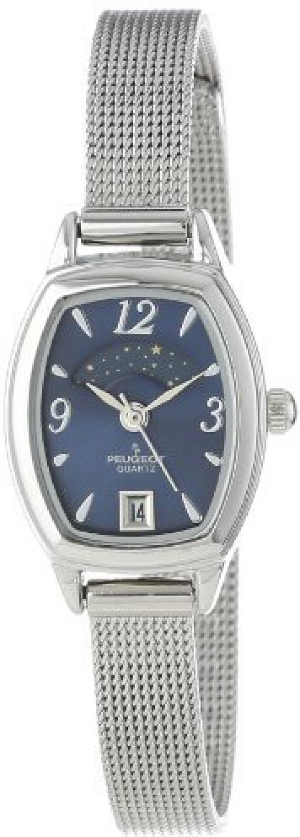 425f9f85370 Peugeot blue4167 Peugeot Women s Slim Silver Mesh Decorative Sun Moon Phase  Blue Face Vintage Dress Watch. ADD TO CART