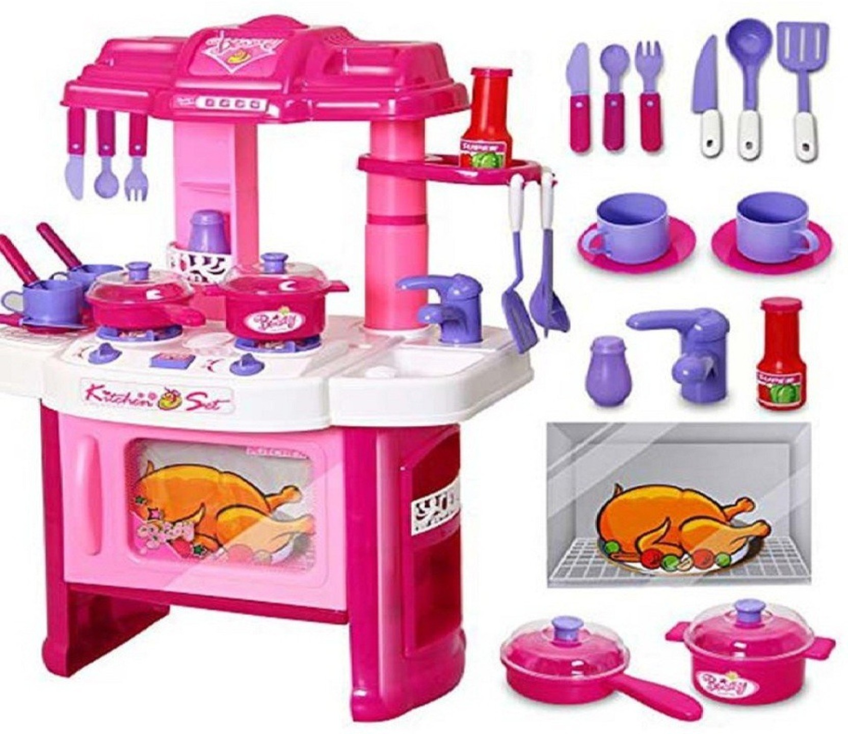 Jvm Luxury Battery Operated Kitchen Play Set Toy For Girls Led Light Sound Flip Flop Share
