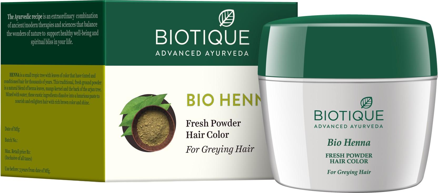 Biotique Bio Henna Fresh Powder Hair Color For Greying Hair Price