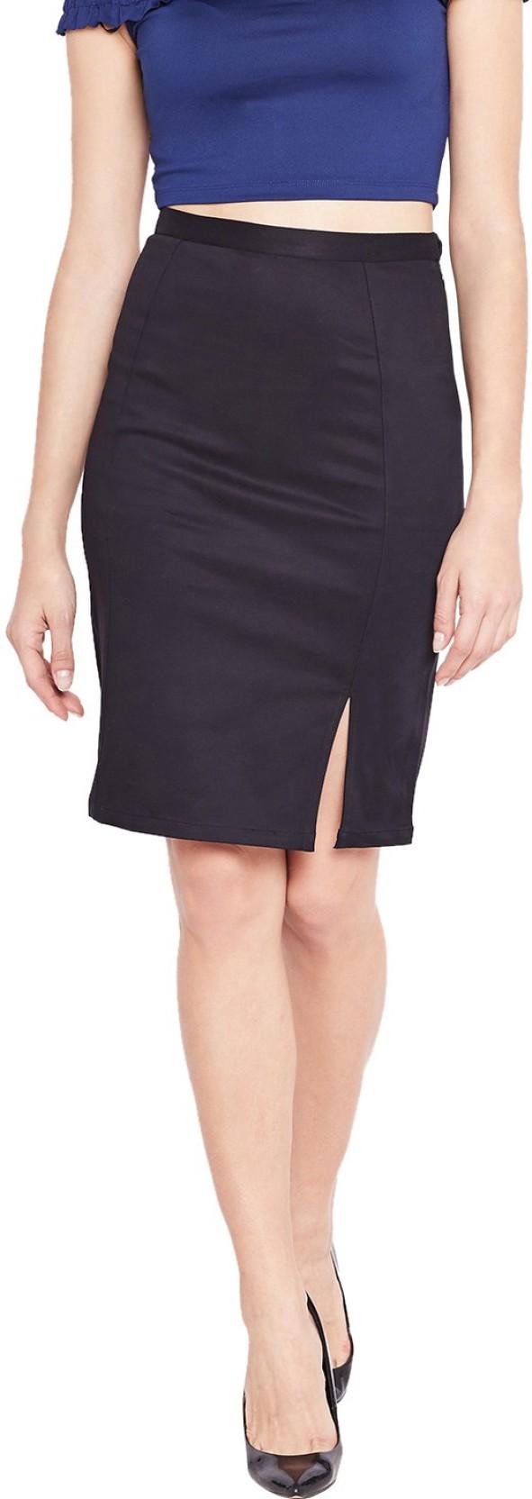 95a06f729 Purplicious Solid Women Pencil Black Skirt - Buy Purplicious Solid ...