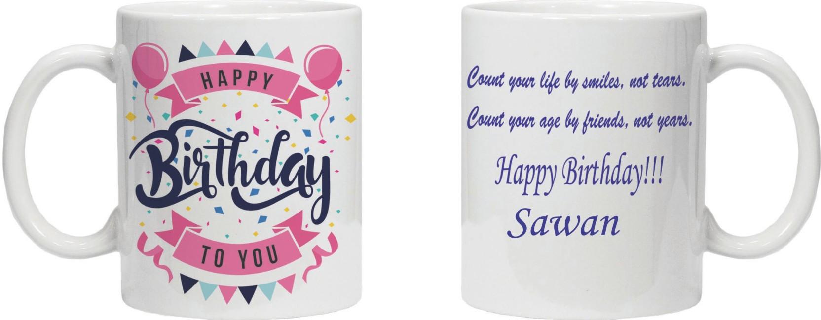 KRSTrends Happy Birthday Sawan White Ceramic Ceramic Mug