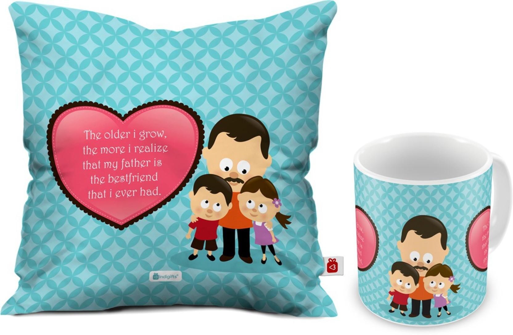Indigifts Fathers Birthday Gift For Papa Dad Gifts Parents Anniversary Mom Father Is My Best Friend Quote Cushion