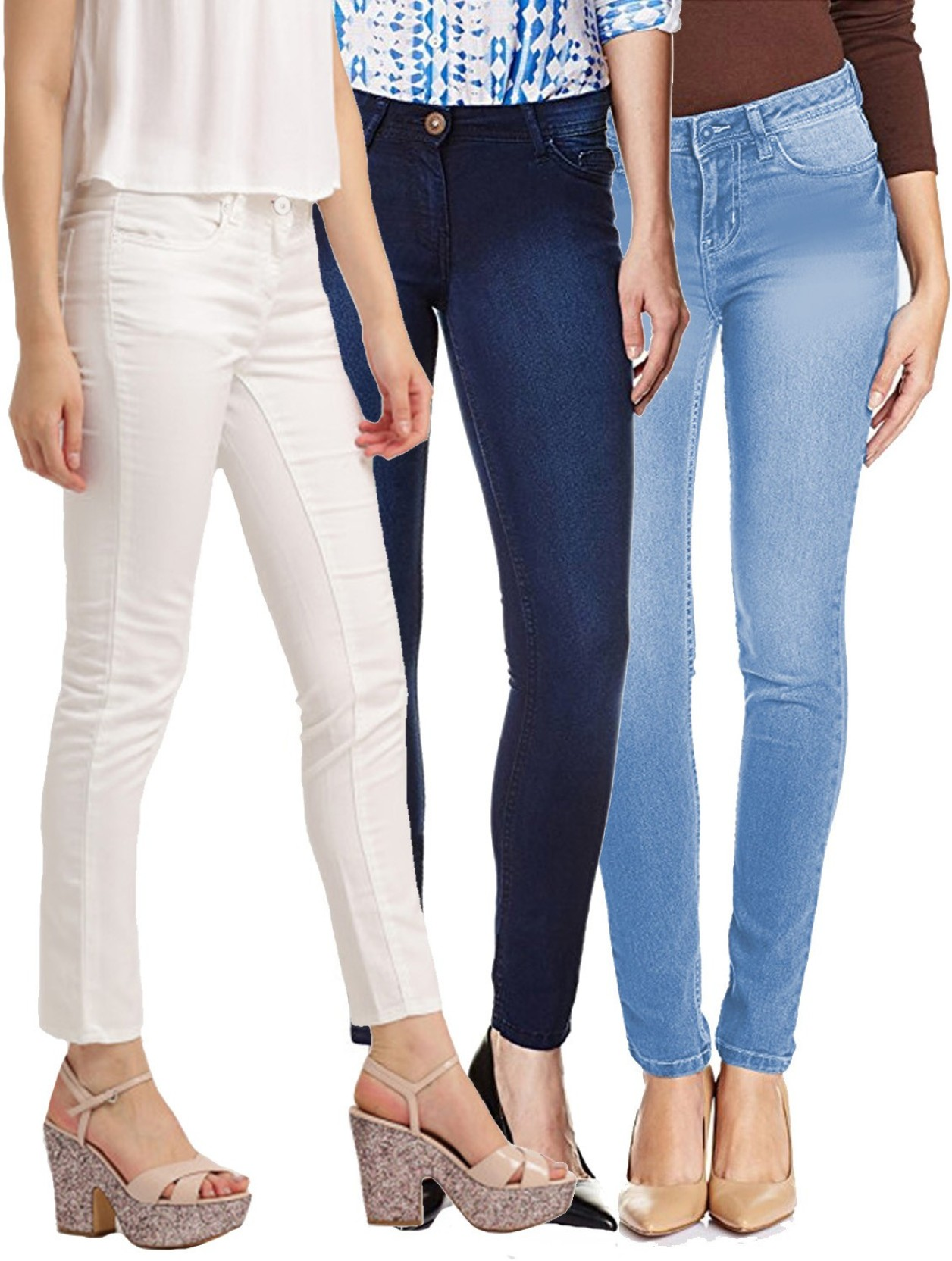 Fuego Regular Women White, Blue, Light Blue Jeans - Buy Fuego