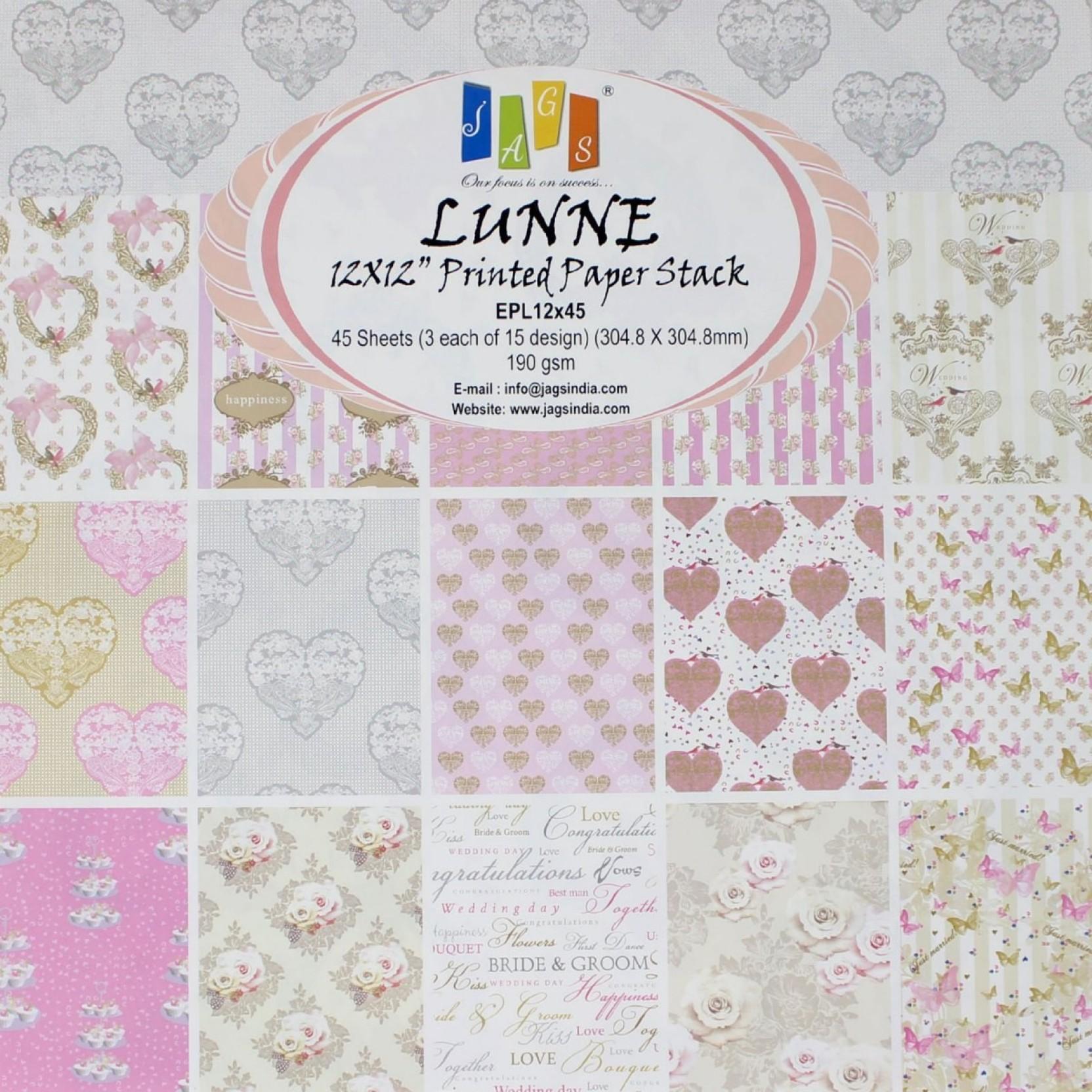 "Pastel Wedding Paper Pad 190gsm 36 Sheets 6 x 6/"" Single Side 12 Designs x 3 Each"