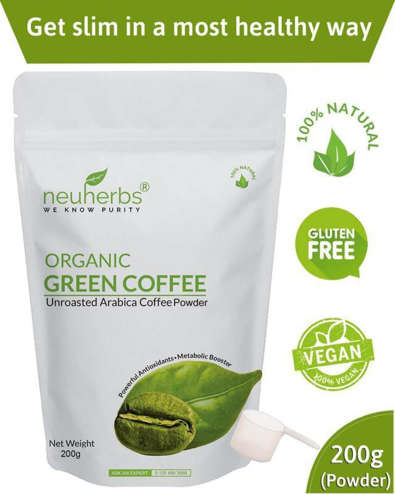 Neuherbs Green Coffee Beans Powder For Weight Loss Management Price Capsule Pure Arabica Organic 60 Caps On Offer