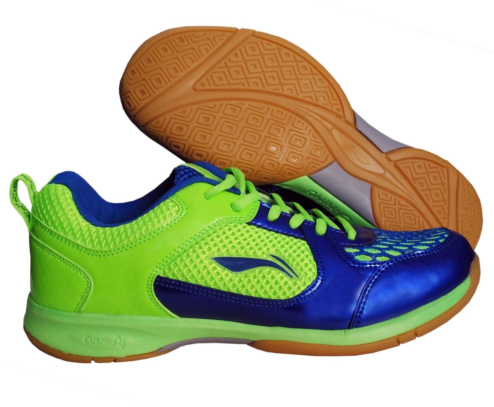 new arrival 320eb 5922e Li-Ning Smart Non Marking Badminton Shoes For Men (Blue, Green)