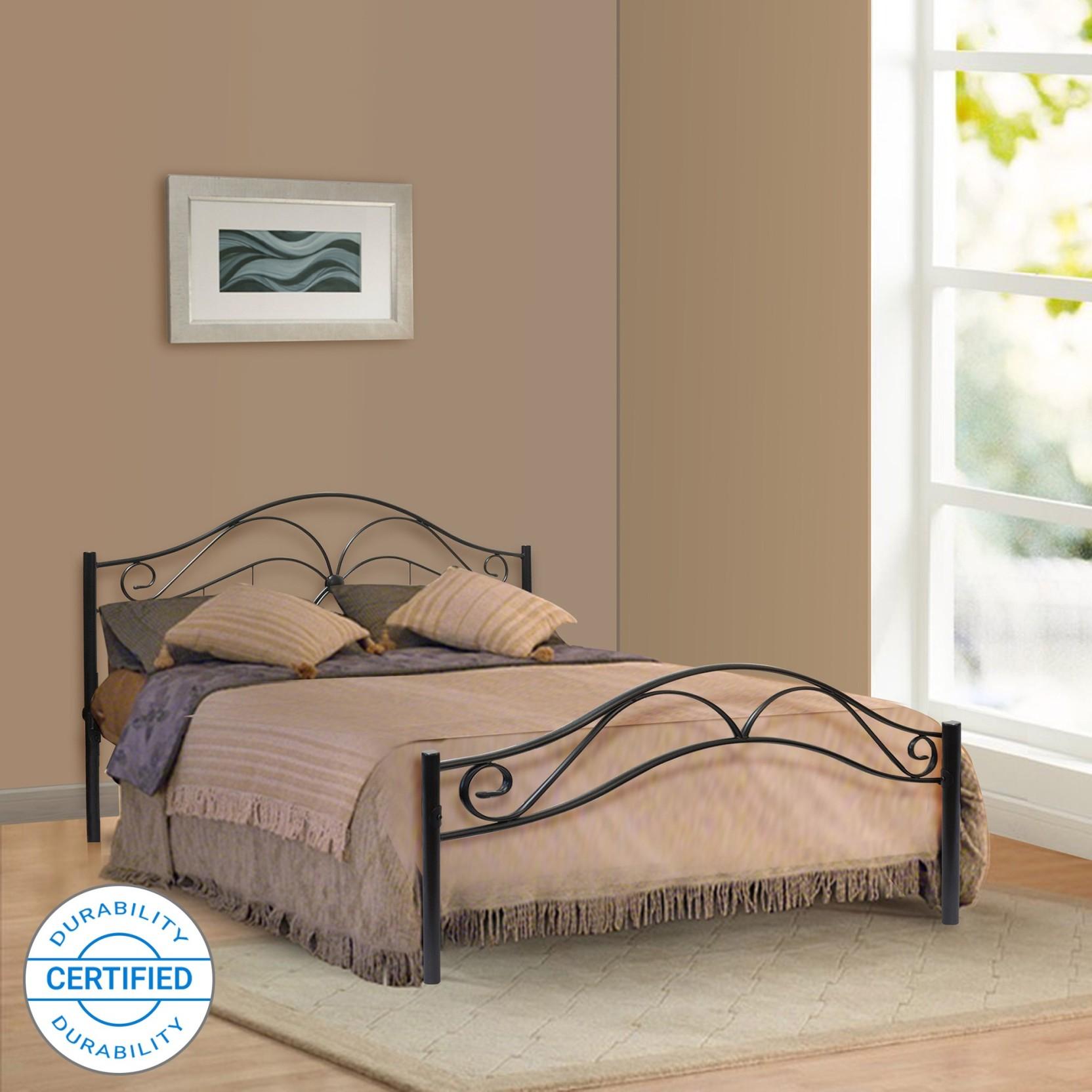 Furniturekraft seattle metal queen bed finish color black
