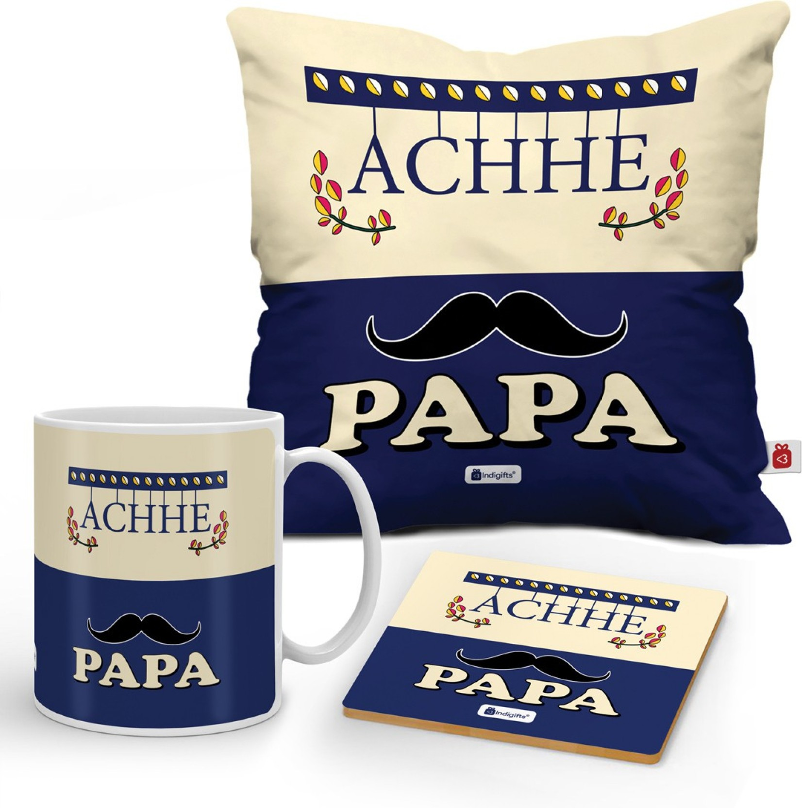 Indigifts Fathers Day Gifts Birthday Gift Anniversary For Mom Dad Papa Cushion Mug Coaster DAD18095