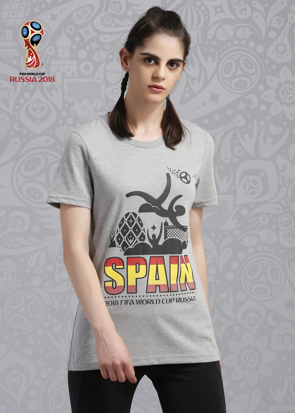 Fifa Spain Graphic Print Womens Round Neck Grey T Shirt Buy Light Fashion Big Size World Cup 3xl On Offer