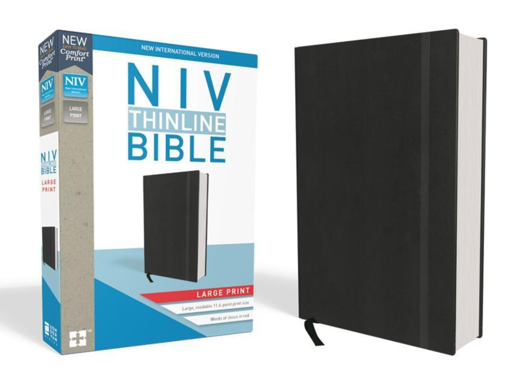 NIV, Thinline Bible, Large Print, Hardcover, Black, Red Letter