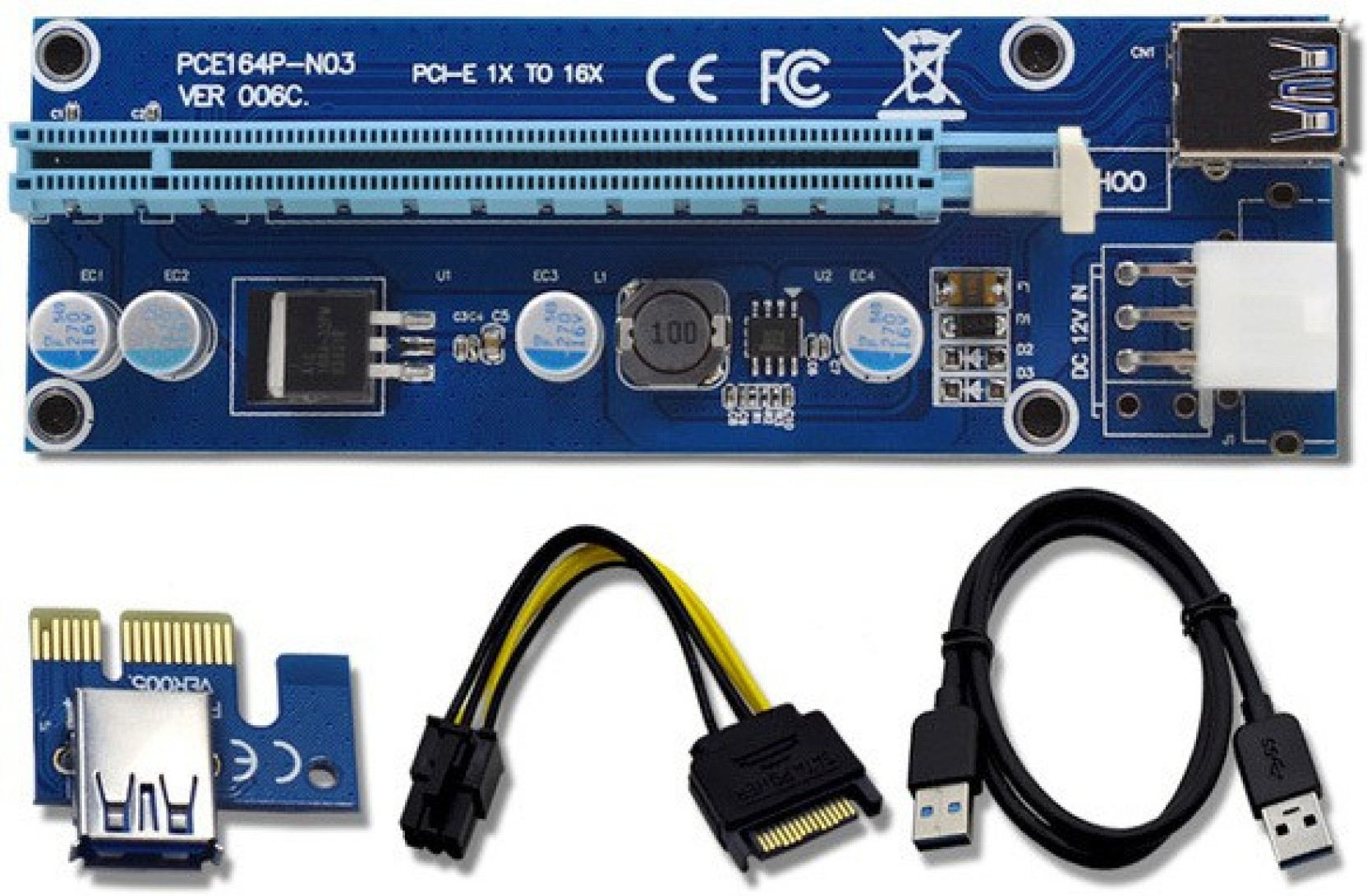 Terabyte Pci E Express Riser Card 1x To 16x Usb 30 Data Cable Pcie Sata Add Cart