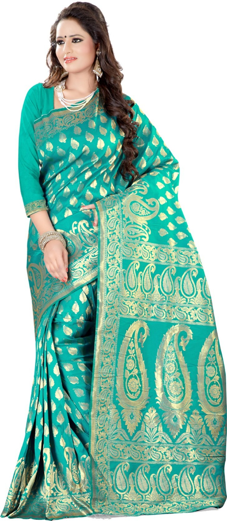 c95c80ce12 Creative Work Woven Banarasi Art Silk, Cotton, Jacquard, Silk Saree (Gold,  Green)