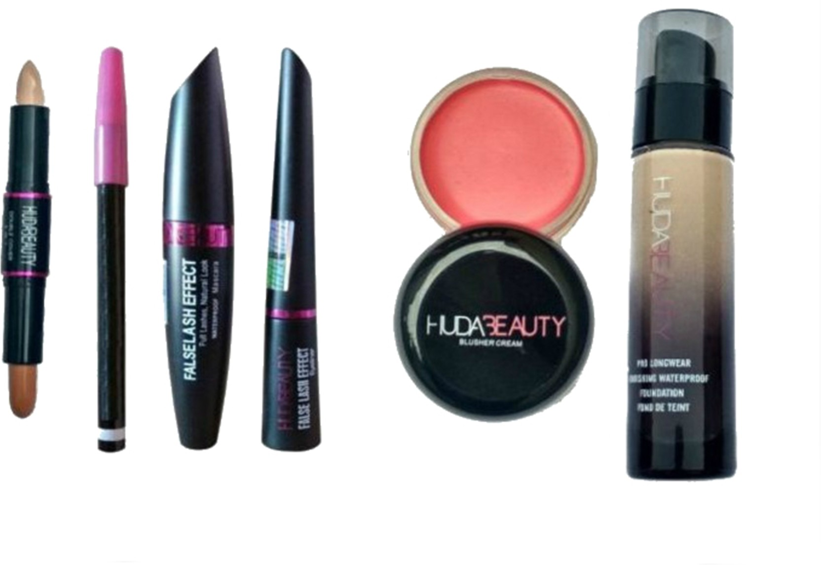 1a26a0ebc8f Huda Beauty COMBO OF BLUSHER CREAM WITH LONG LASTING(24HRS) EYELINER,  MASCARA, EYEBROW PENCIL(FALSE LASH EFFECT) WITH DOUBLE COVER CONCEALER WITH  WATERPROOF ...