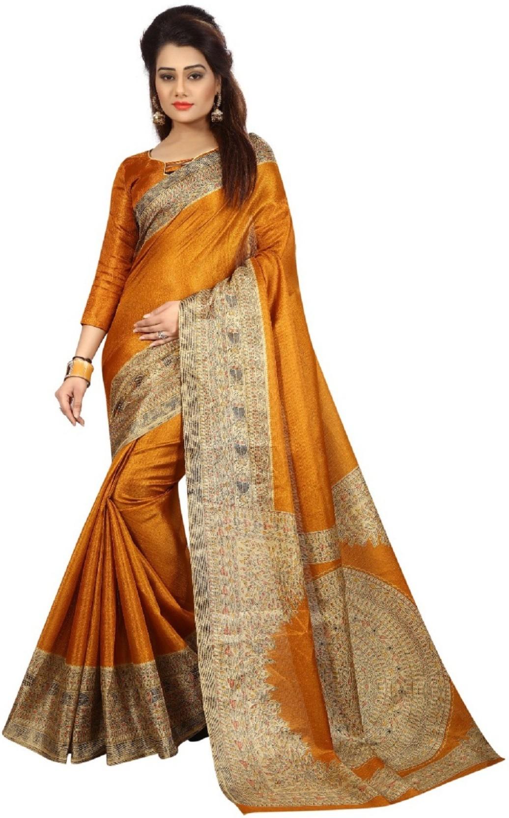 299d43fec04 Buy Arth Creation Printed Bhagalpuri Silk Yellow Sarees Online ...