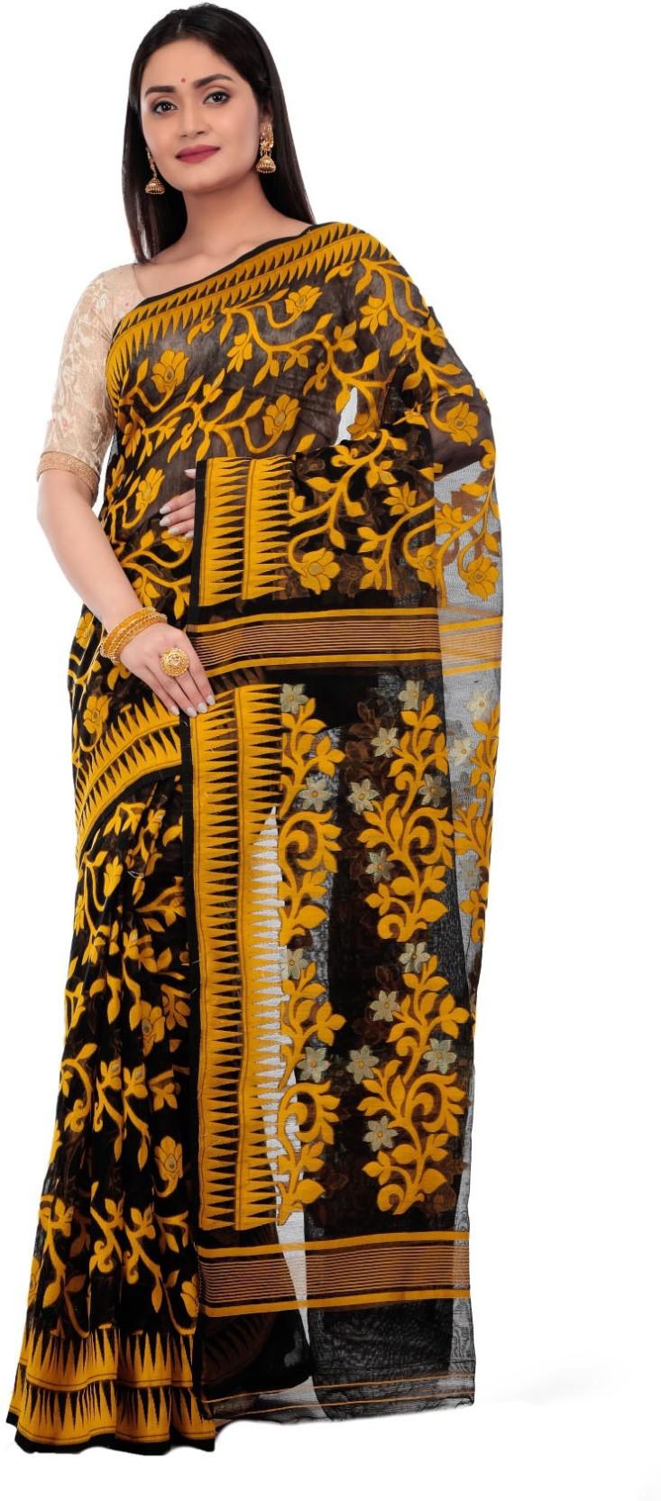 e3fc99ee78b6e Avik Creations Printed Jamdani Handloom Silk