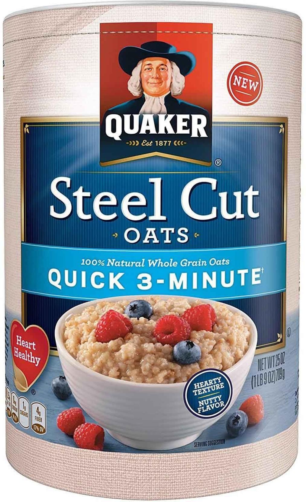 Quaker Steel Cut Oats Quick 3 Minutes Breakfast Cereal 709g 25oz Instant Oatmeal Jar 1 Carton 12 Pcs P Home