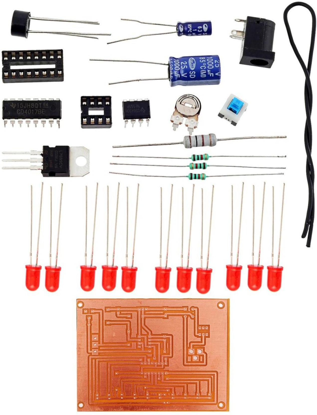 Kitsguru Led Chaser With Variable Speed Lgkt078 Educational Circuit On 3 Diagram Electronic Hobby Kit Add To Cart