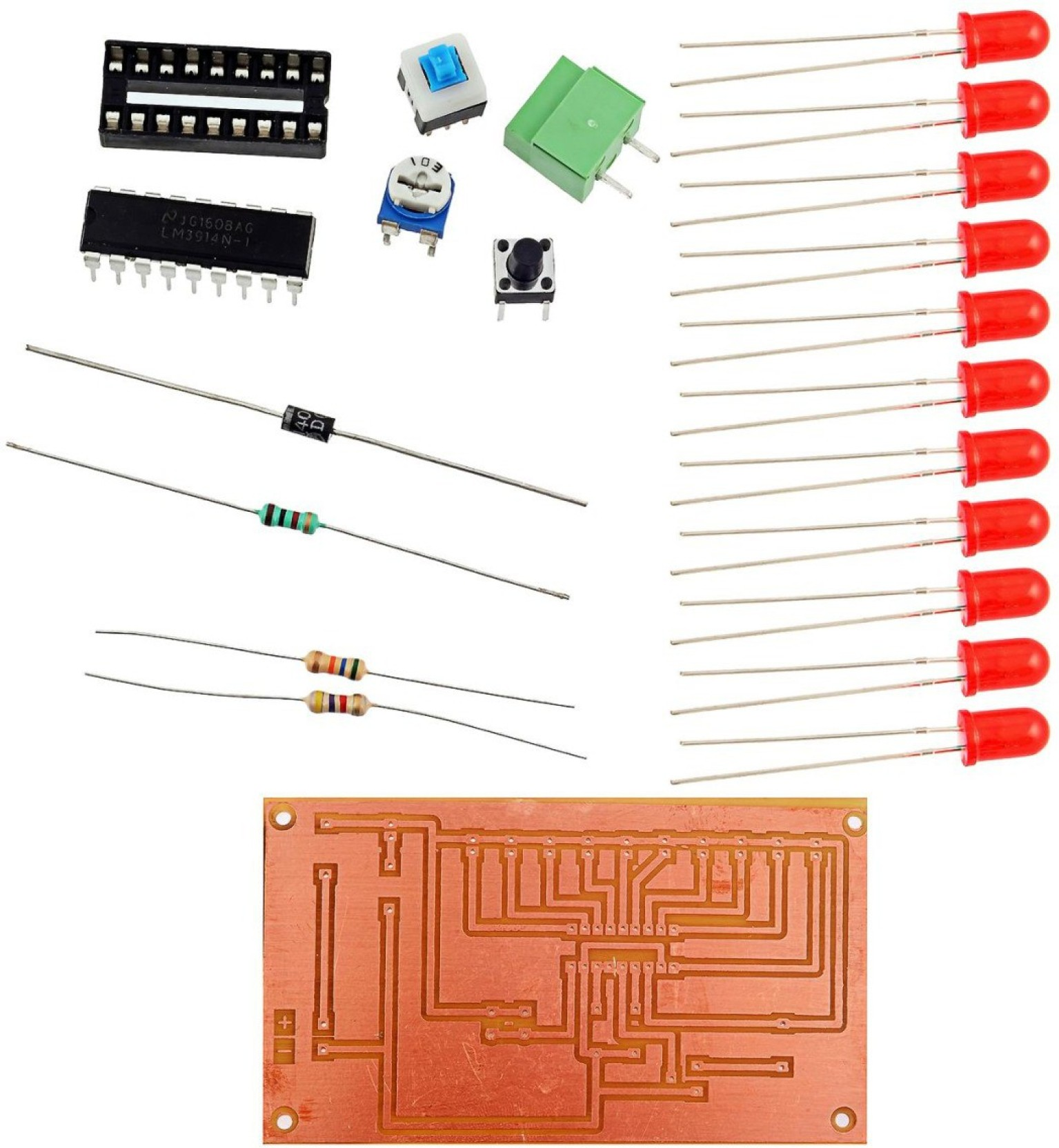 Kitsguru Battery Level Indicator Lgkt059 Educational Electronic Circuit Led Bar Ic Lm3914 Picture Of Good Add To Cart