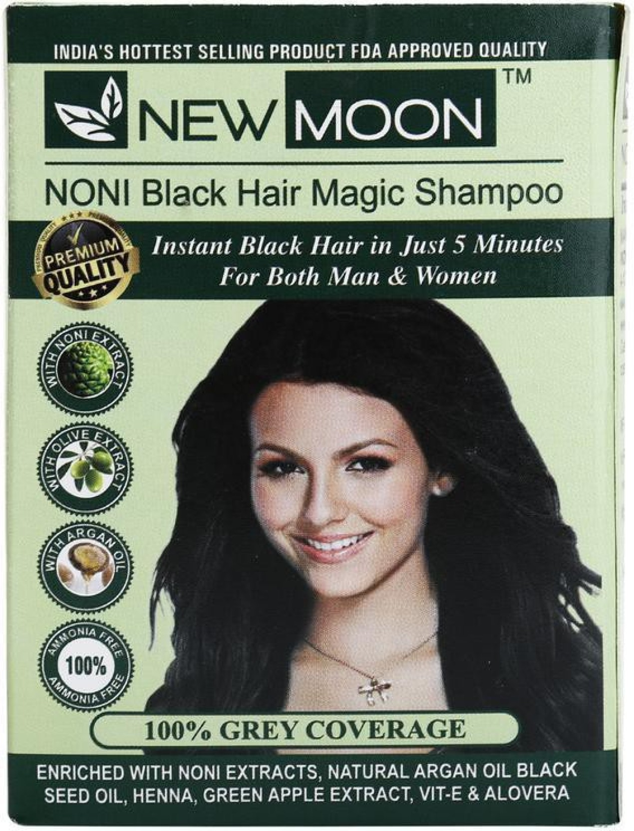 New Moon Noni Black Hair Magic Shampoo Permanent Hair Color (Green)