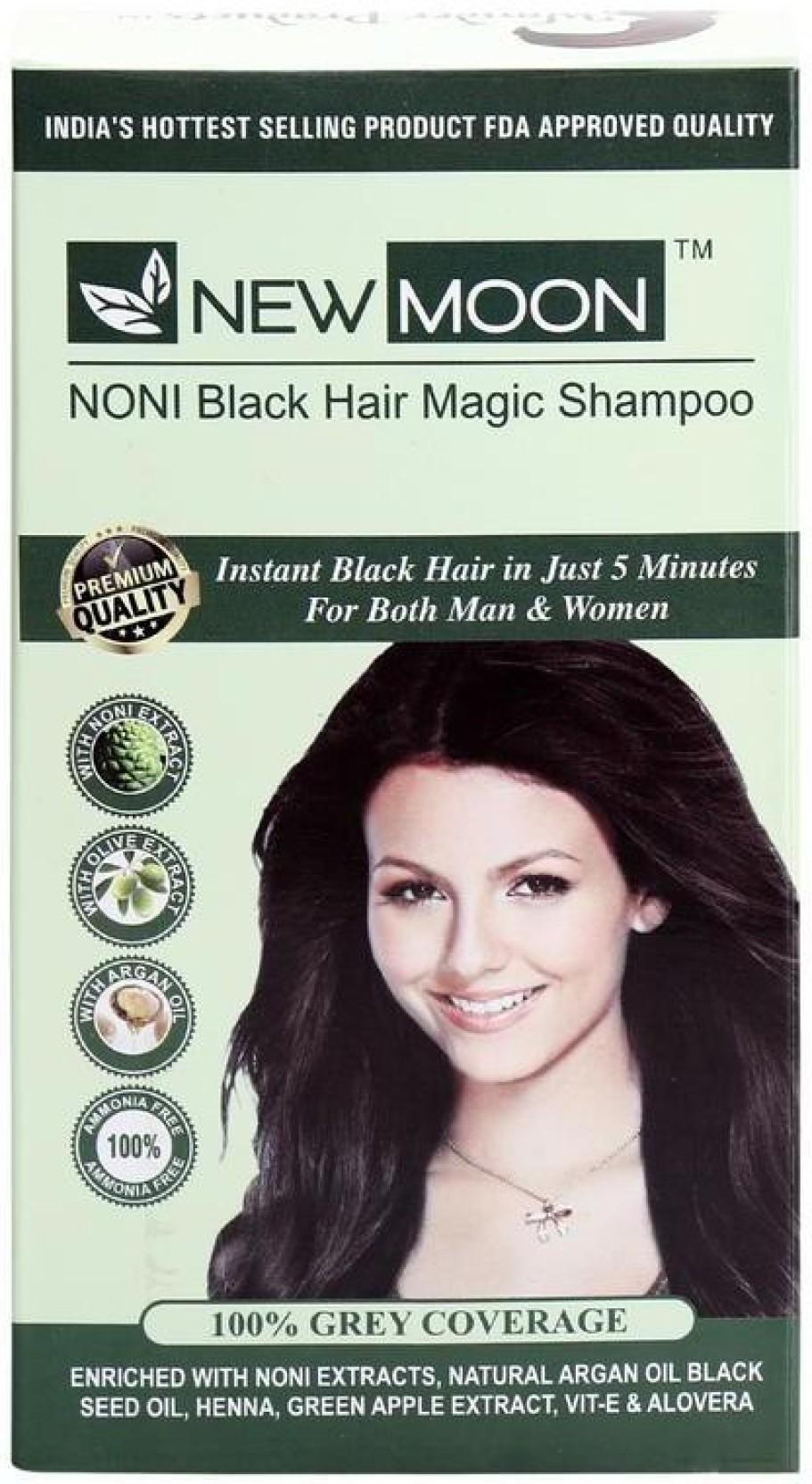 New Moon Noni Black Hair Magic Shampoo 20 Sachets Brown Hair Color