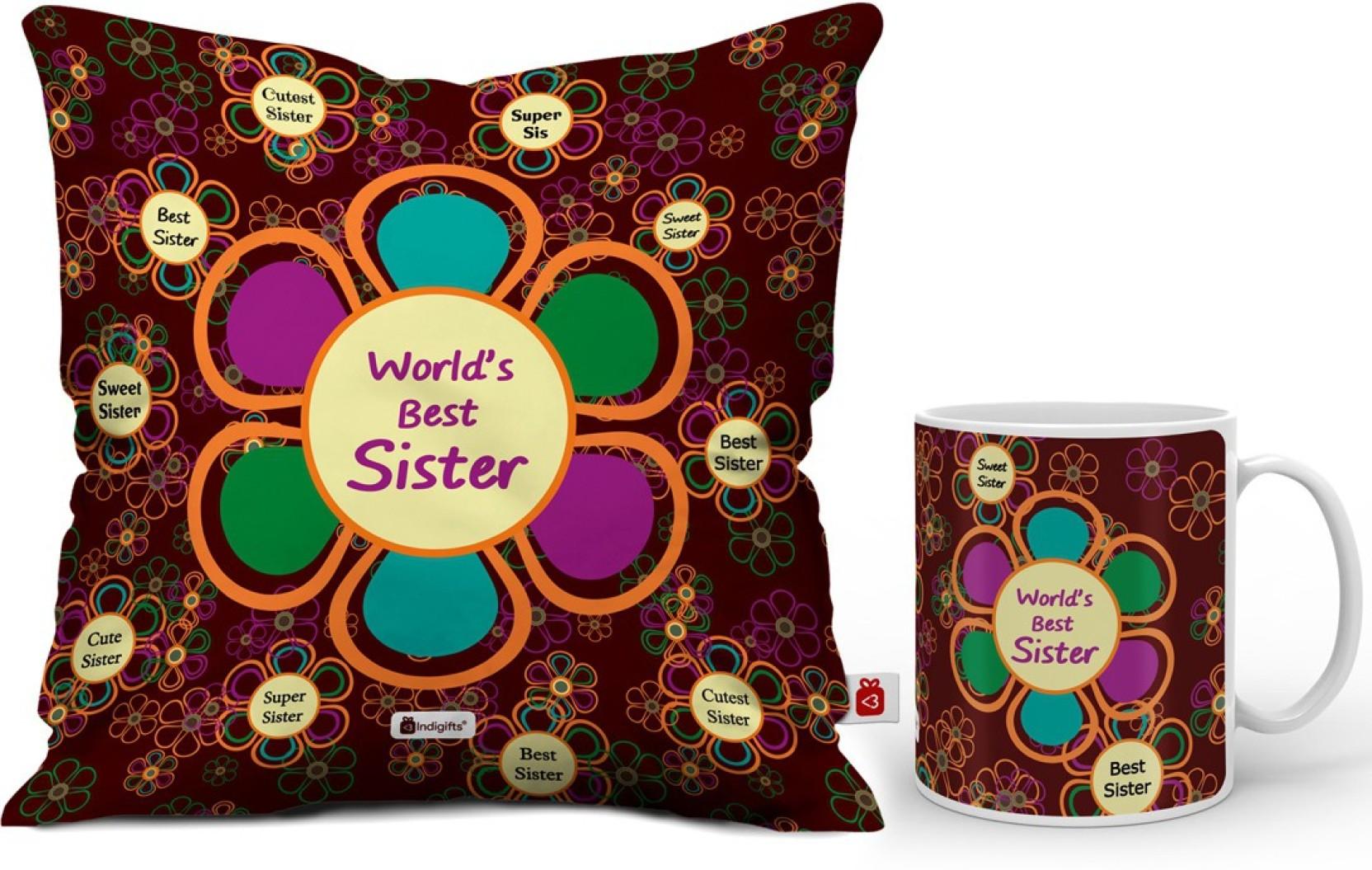 Indigifts Rakhi Gift Gifts For Sister Birthday Raksha Bandhan Marriage D CM001 SIS17005 Cushion Mug Set