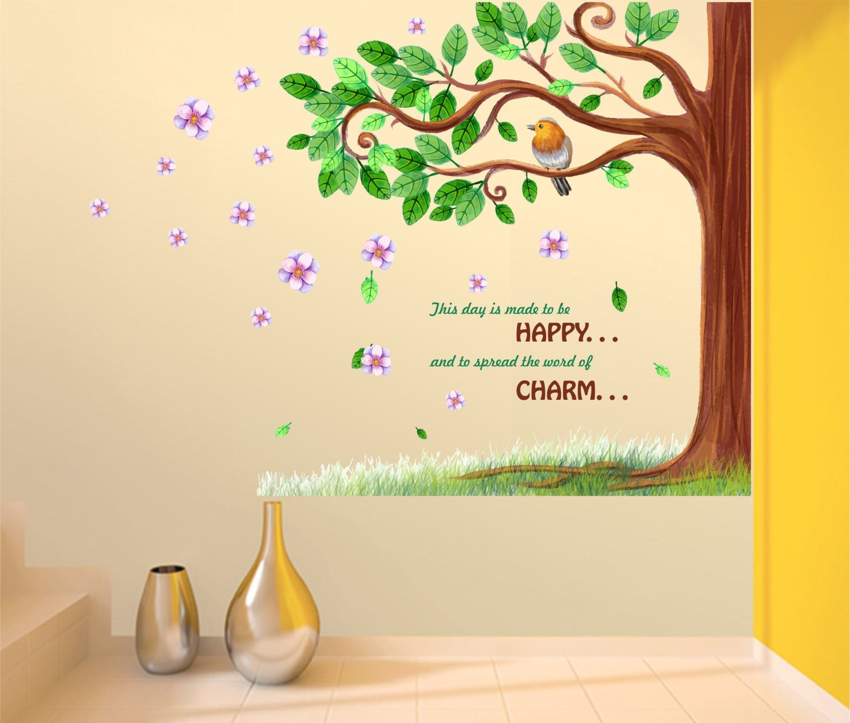 Happy walls Happy quotes with green tree Price in India - Buy Happy ...