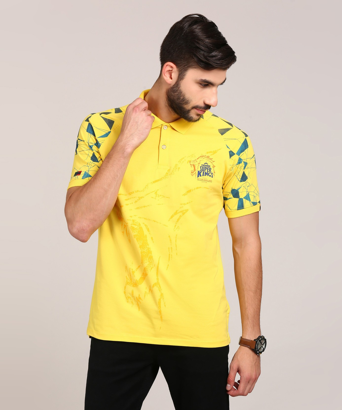 082e5cce Peter England Printed Men's Polo Neck Yellow T-Shirt. ADD TO CART. BUY NOW